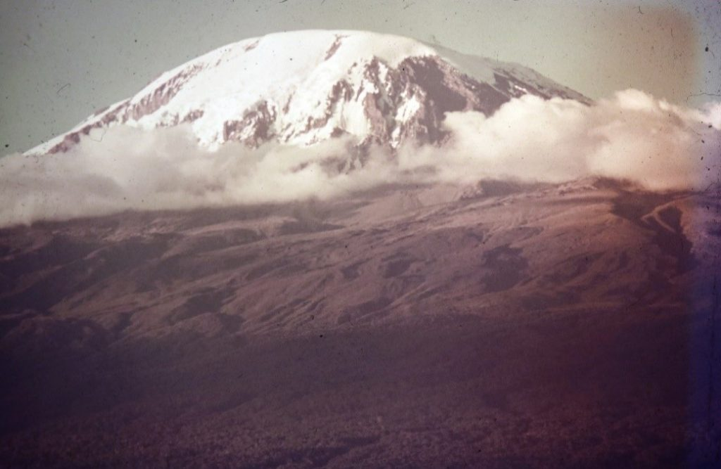 Kilimanjaro at 3pm about 10 mies from the last cave before our last 100 yard vertical climb at 3am to reach the top by 6am sunrise.