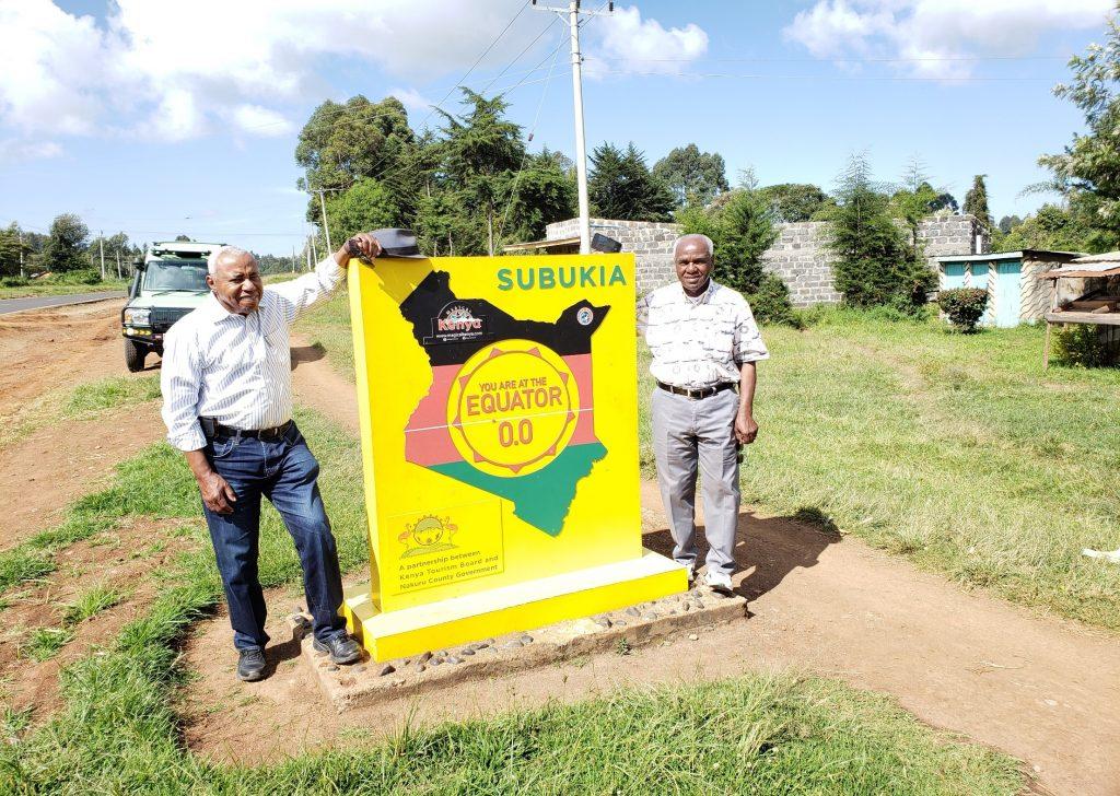 Two American sightseeing at Equator in Subukia, Kenya 2020