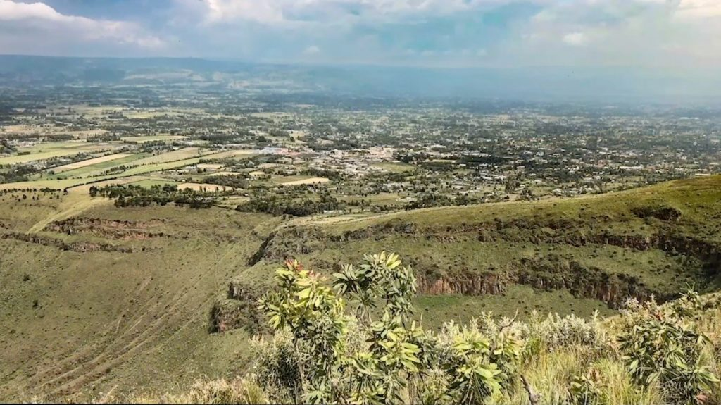 From atop of Menegai Crater January, 2020, Nakuru population has grown to 350,000 and a view of some of the development and expansion for the growth.