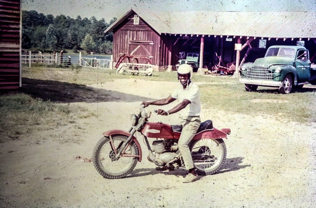 My transportation, the Triumph motorcycle, a very reliable two wheel vehicle that I logged 50,000 on in two years.